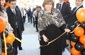 Deputy Ambassador cuts the ribbon at the opening of the new UK Heavy Machinery Sales Office in Tashkent