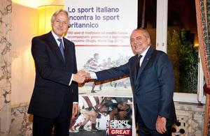 HM Ambassador Christopher Prentice and Aurelio DeLaurentiis