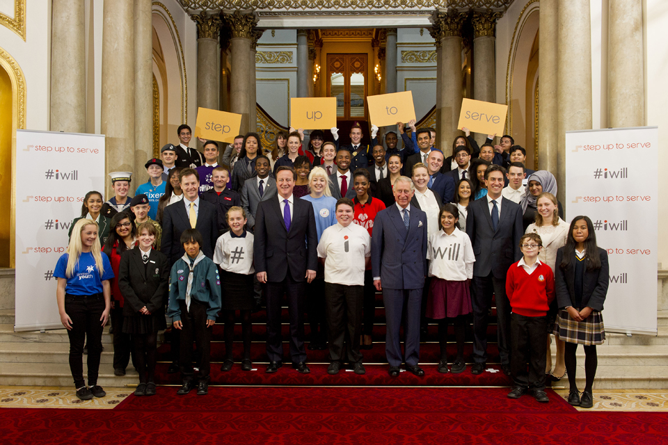 Prince Charles with David Cameron, Nick Clegg, Ed Miliband and young people at the launch of Step Up to Serve
