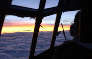 Sunset from a C-130 Hercules cockpit (library image) [Picture: Corporal Paul Saxby RAF, Crown copyright]