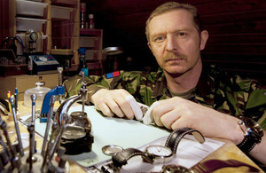 Staff Sergeant Andrew Sharpe has used the Army's resettlement package to retrain as a watchmaker