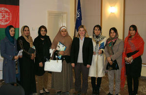 Justine Greening meets women from civil society organisations in Afghanistan. Picture: Emily Poyser/DFID