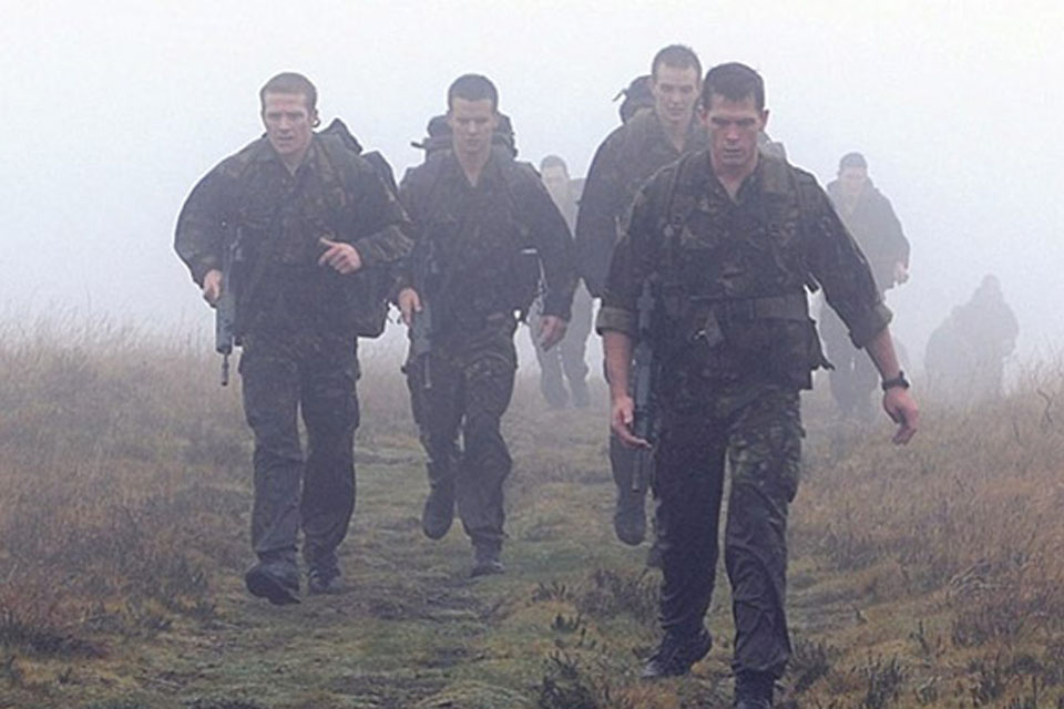 The Royal Marines Physical Training Instructors during the 30-mile (48km) yomp across the rugged terrain of Dartmoor