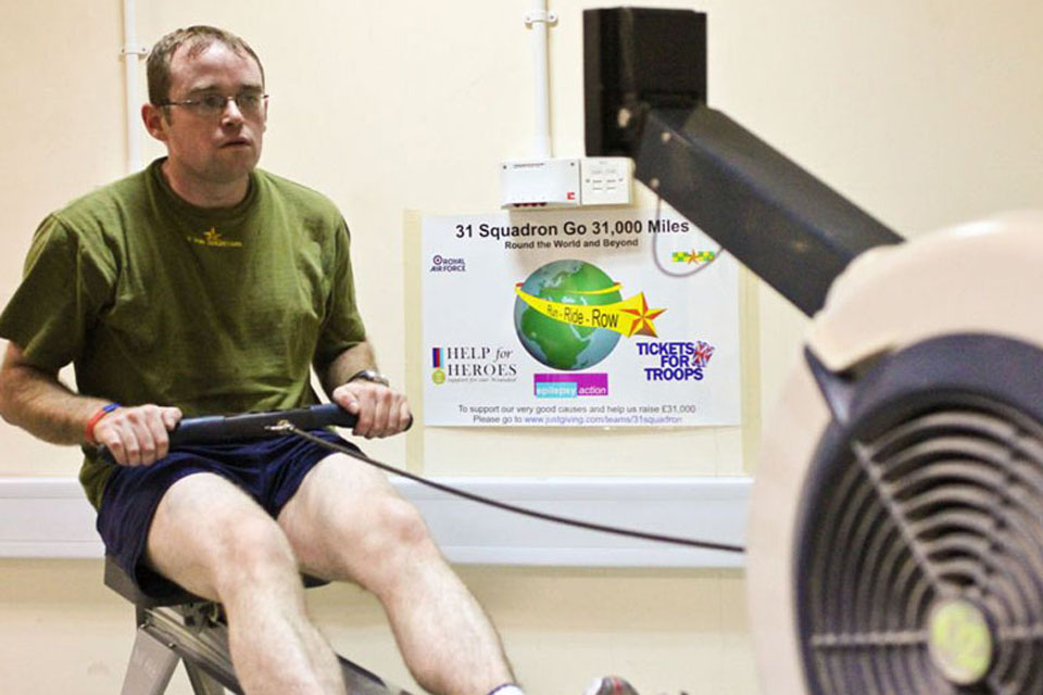 Senior Aircraftman Nellist is rowing up to 25 miles (40km) every day