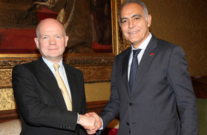 Foreign Secretary William Hague meeting Moroccan Foreign Minister Saleheddine Mezouar