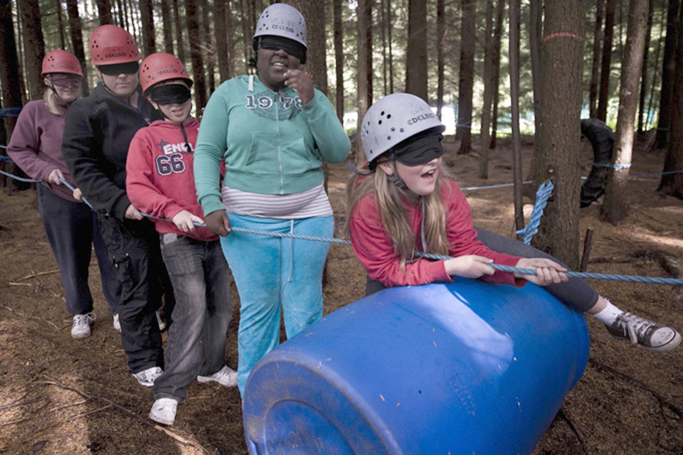Children at the Ability Outdoors centre in Dalby Forest taking part in confidence and team-building activities