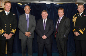 From left: Captain Andrew Burns, Michael Aron, Mark Francois, Lieutenant General David Capewell and Commodore Paddy McAlpine [Picture: Leading Airman (Photographer) Arron Hoare, Crown copyright]