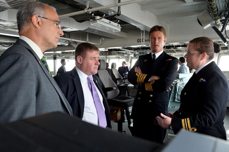 Michael Aron and Mark Francois are shown around HMS Bulwark