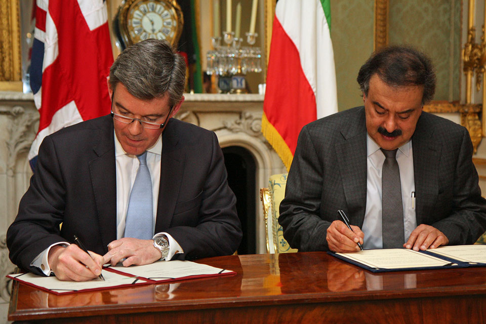 Foreign Office Minister Hugh Robertson and His Excellency Khaled Al Jarallah sign the UK-Kuwait Joint Steering Group Action Plan