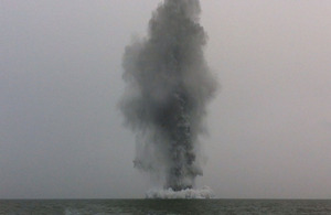 A Second World War German mine is destroyed in the Thames Estuary off the Kent coast on Sunday 8 April