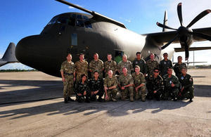 RAF and Philippines Air Force colleagues in front of the RAF C-130 Hercules [Picture: Corporal Jake Sims, Crown copyright]