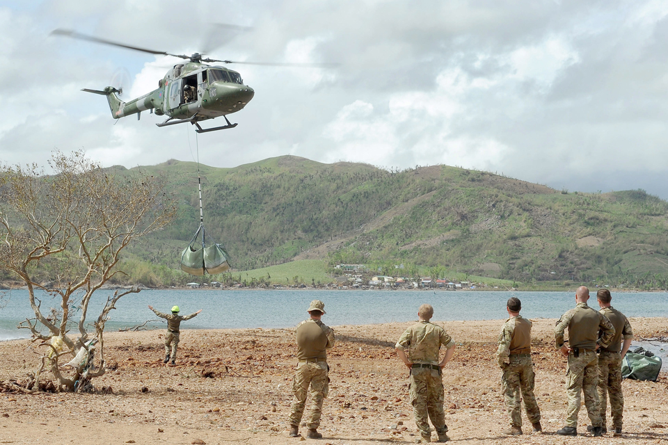 A Lynx Mk7 helicopter delivering supplies