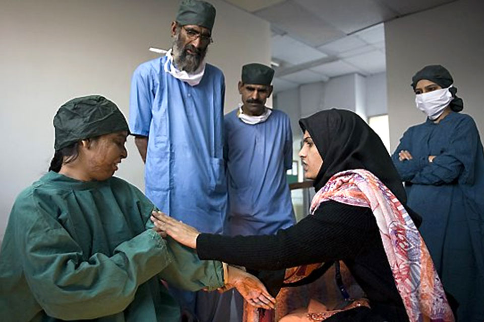 Naila receives medical care for her burn wounds. British funding to the ASF provides medical care for acid attack survivors like Naila. Picture: Acid Survivors Foundation