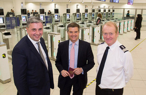 Immigration Minister opens ePassport gates at Gatwick airport