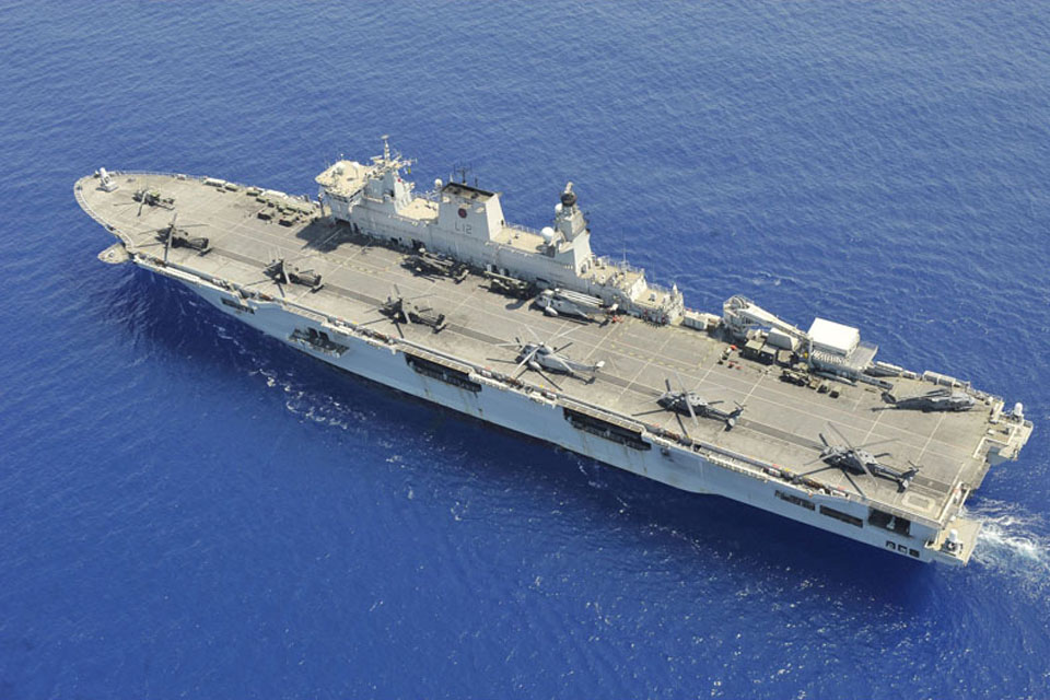 An aerial view of HMS Ocean
