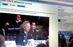 Screenshot of the OSCE ministerial council statements