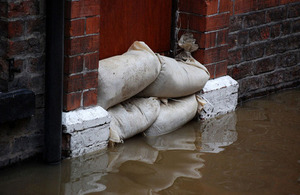 Sandbags in a doorway