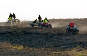 Soldiers from the Infantry Battle School in Brecon transported water and beat out flames from their quad bikes