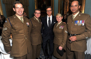 Actor Colin Firth, who plays Eric Lomax in 'The Railway Man', with serving members of the Royal Corps of Signals [Picture: Richard Chambury, ©Richfoto 2013]
