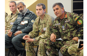 Brigadier General Sherin Shah (far right) of the Afghan National Army with members of 4th Mechanized Brigade