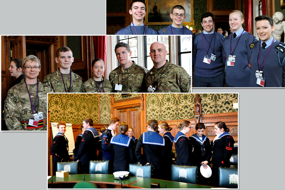 Cadets from the 3 services during their visit to the House of Lords