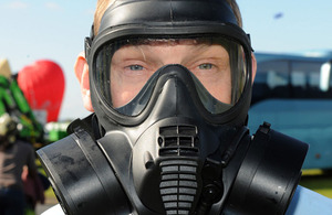 Lance Corporal Andy MacMahon wearing his General Service Respirator