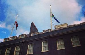 Flags at half mast at Downing Street