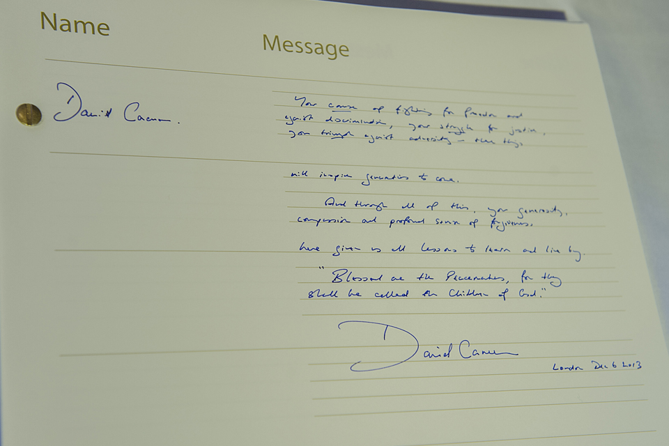 David Cameron's message in the book of condolence for Nelson Mandela