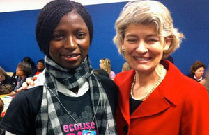 Plan UK youth representative Ya Marie Jah with Director General of UNESCO, Irina Bokova. Picture: Plan UK