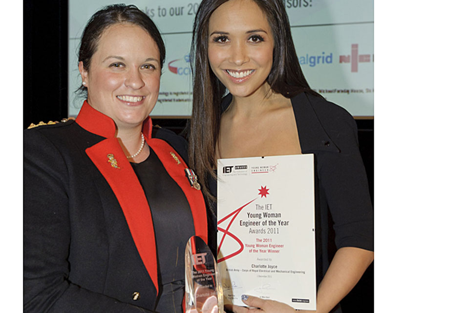 Captain Charlotte Joyce with TV presenter Myleene Klass at the Young Woman Engineer of the Year Awards 2011