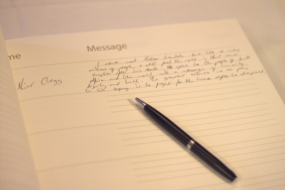 A photo of Nick Clegg's message.