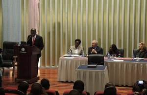 Prime Minister Matata delivering his speech at the Pact signing ceremony