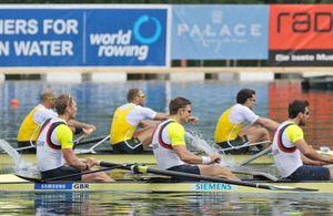 Left to right (front): Alex Gregory, Lieutenant Pete Reed, Tom James and Andy Triggs Hodge in action at the Lucerne World Cup 2012