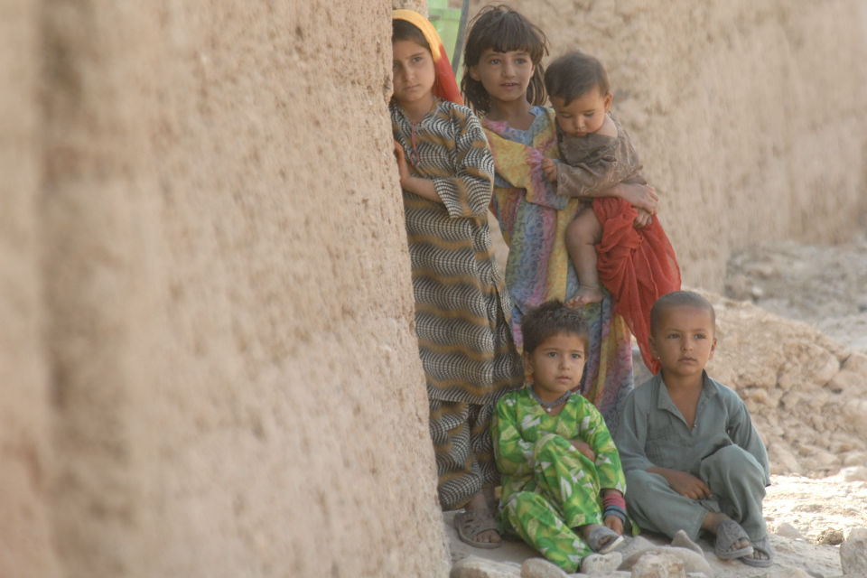 Group of young Afghan children.