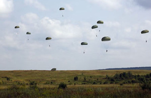 Paratroopers from 2 PARA jumped from a US C-130 aircraft onto the Yavoriv Training Area in Ukraine as part of Exercise Rapid Trident