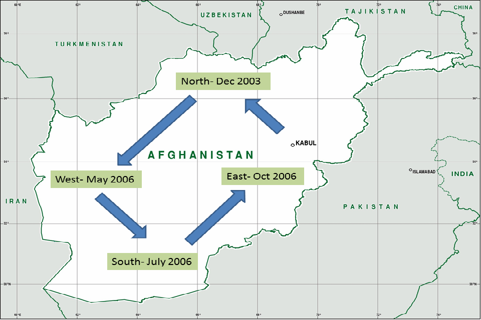 Map showing the expansion of the International Security Assistance Force (ISAF) across Afghanistan: north (December 2003), west (May 2006), south (July 2006), east(October 2006).
