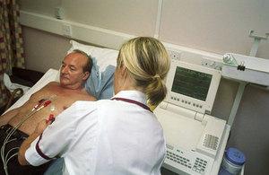 Man having an ecg test performed by a nurse