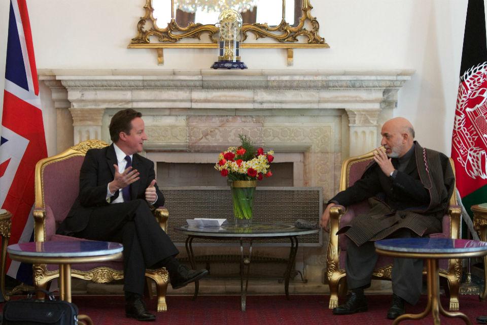 Prime Minister David Cameron with Afghan President Hamid Karzai.