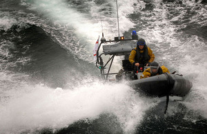 One of HMS Campbeltown's rescue boats cuts through the waves (stock image)
