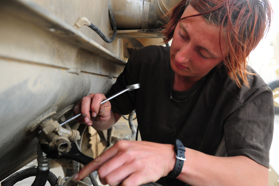 A Royal Electrical and Mechanical Engineers vehicle mechanic