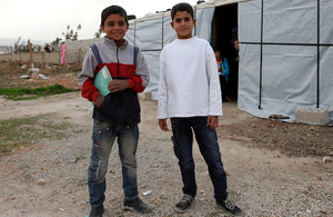 Two Syrian refugee boys in Lebanon's Bekaa Valley. Picture: Russell Watkins/DFID