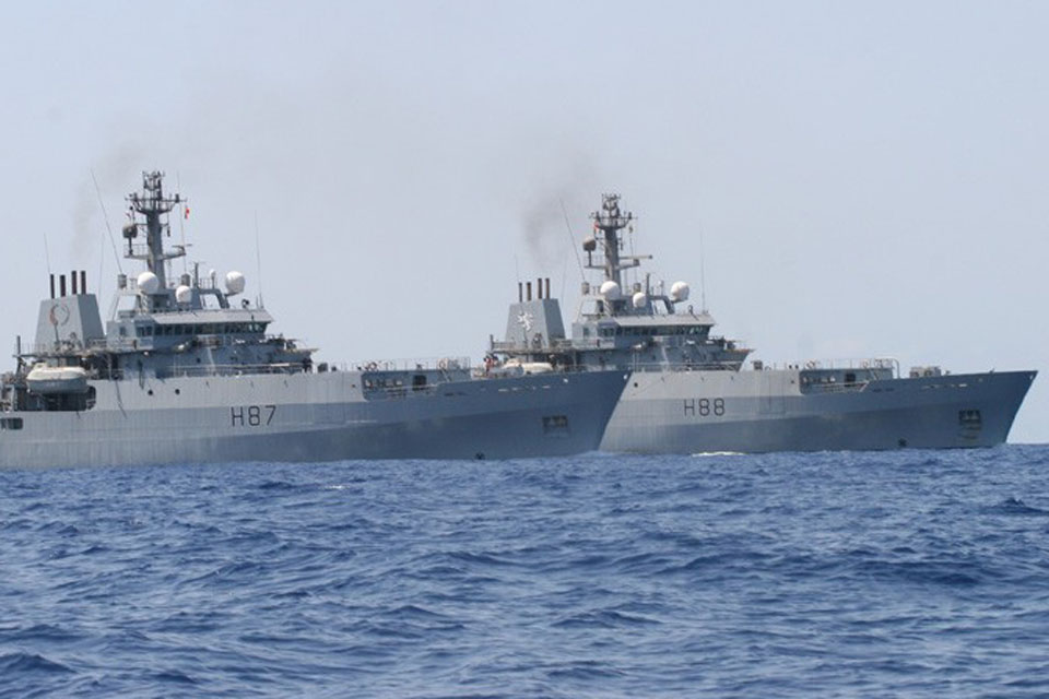 HM Ships Echo and Enterprise operating together