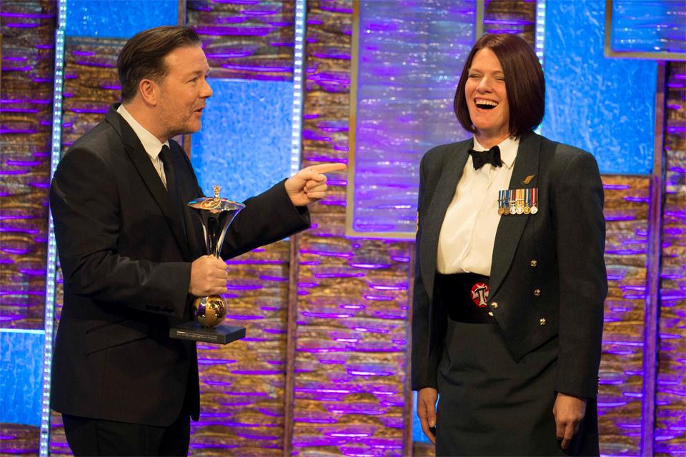 Ricky Gervais and Sergeant Rachael Robinson