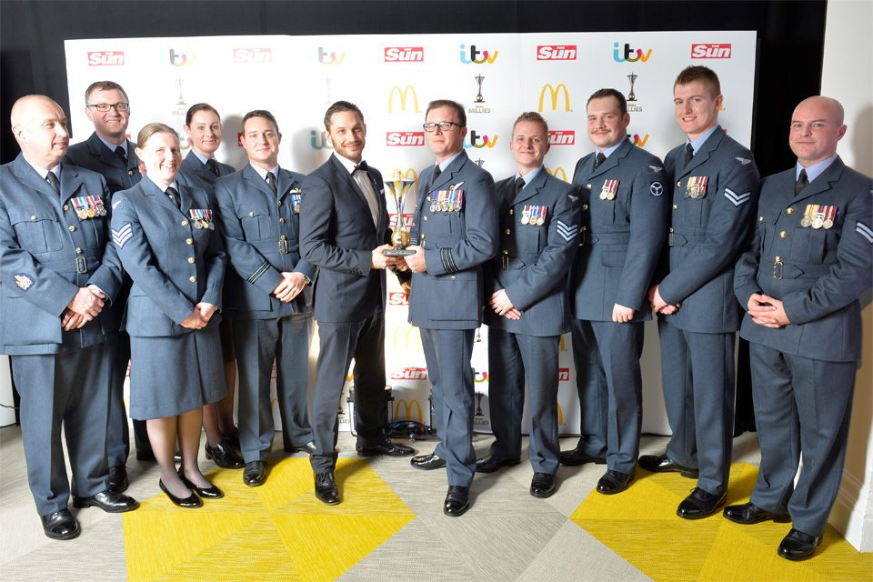 Tom Hardy (centre) with members of the 904 Expeditionary Air Wing Tornado Detachment