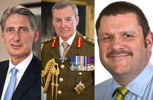 Defence Secretary Philip Hammond, Chief of the Defence Staff General Sir Nicholas Houghton and Permanent Secretary Jon Thompson [Pictures: Crown copyright]