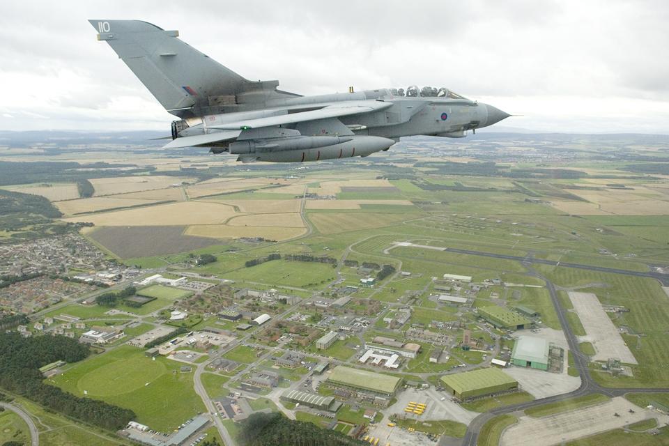 A 617 Squadron Tornado GR4 flies over RAF Lossiemouth