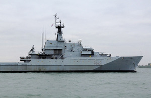HMS Mersey from the Royal Navy's Fishery Protection Squadron based in Portsmouth (stock image)