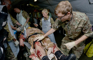A simulated casualty is treated by medics during Exercise Serpent's Anvil [Picture: Corporal Andy Reddy RLC, Crown copyright]