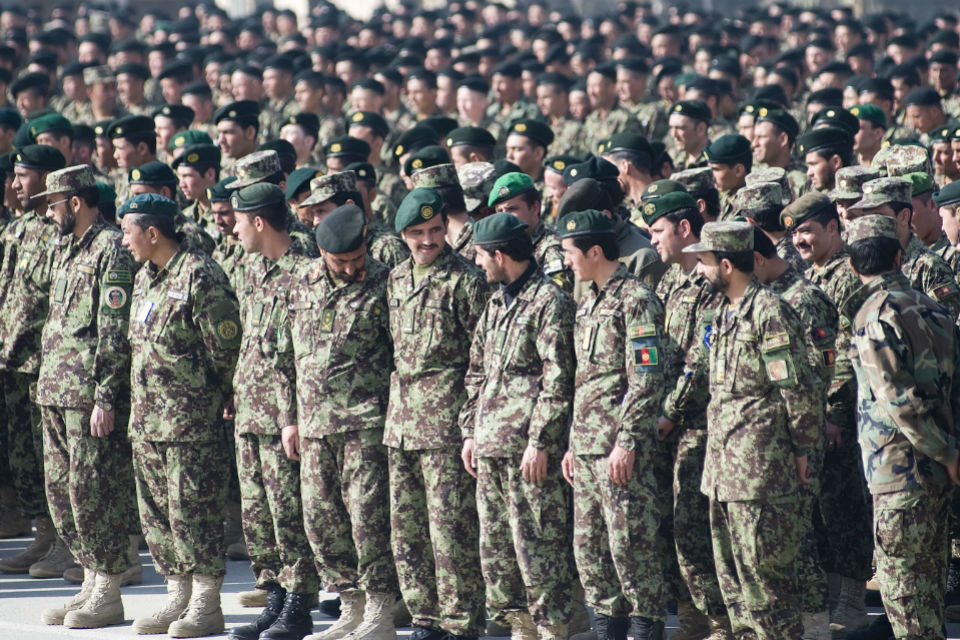 Soldiers in the Afghan National Army in 2013.