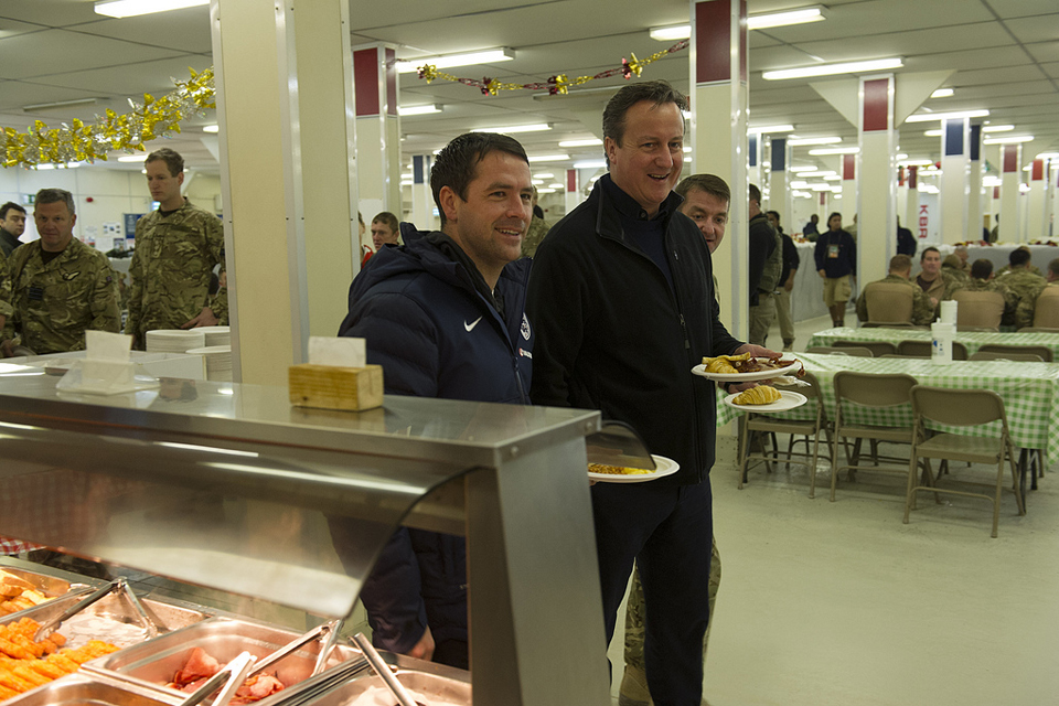 David Cameron and Michael Owen at Camp Bastion